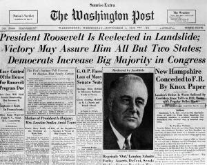 FDR won his second term in a landslide 523-8 in 1936.
